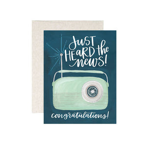 "Congrats Card from One Canoe Two - green radio says ""Just heard the news! Congratulations!"""