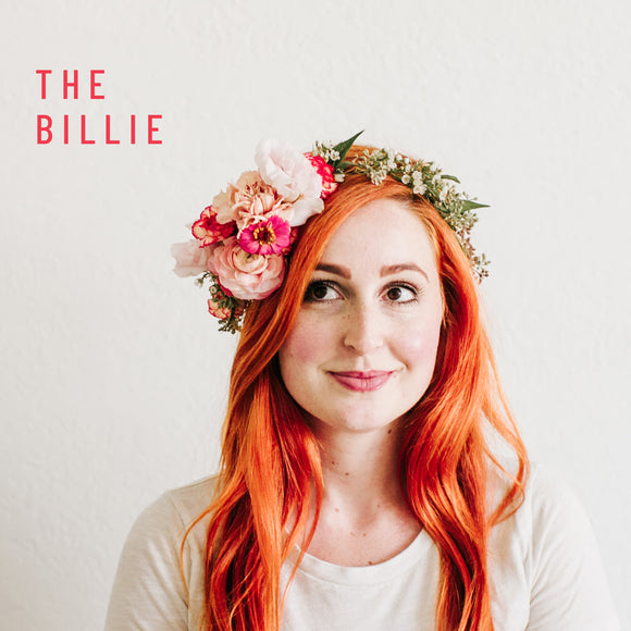 Woman models the Billie flower crown from Native Poppy