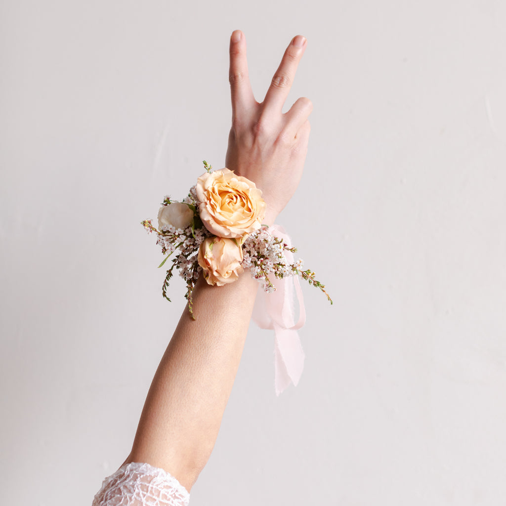 Floral wrist corsage from Native Poppy