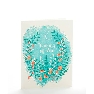 Thinking of you card - pink and green florals on light bluee