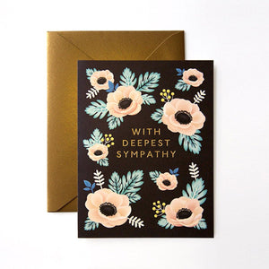 With Deepest Sympathy Card - greeting card with illustrated pink flowers