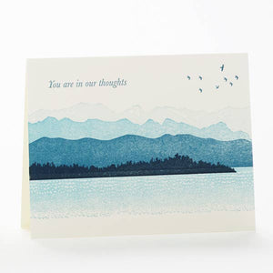 You are in our thoughts card - blue gradient mountains illustration