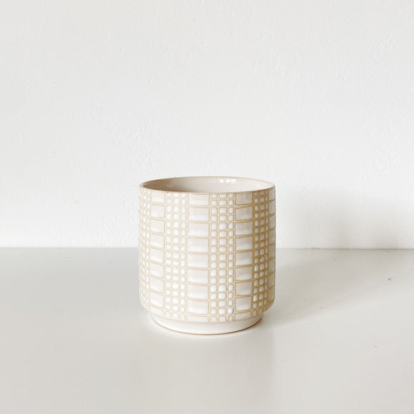 Zati vase - white ceramic vase with plaid glaze details