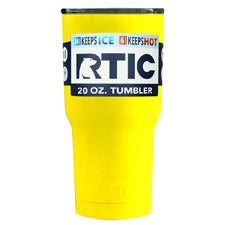 Customized RTIC Yellow Gloss 20 oz Tumbler - TrekTumblers