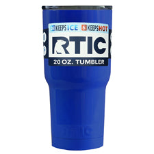 Customized RTIC Blue Gloss 20 oz Tumbler - TrekTumblers