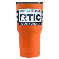 Customized RTIC Orange Gloss 20 oz Tumbler - TrekTumblers