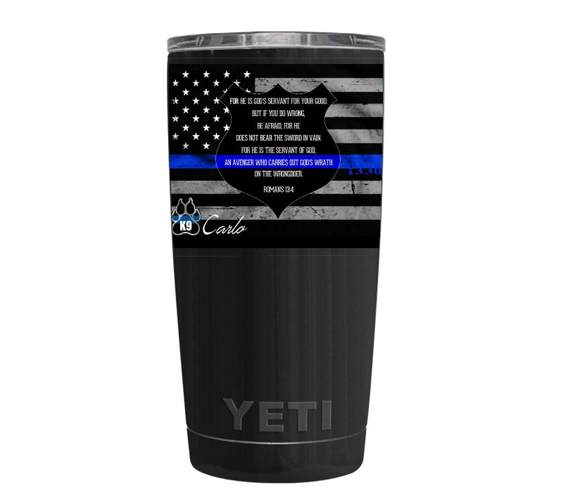 Custom Designed YETI Black Gloss 20 oz Rambler Tumbler