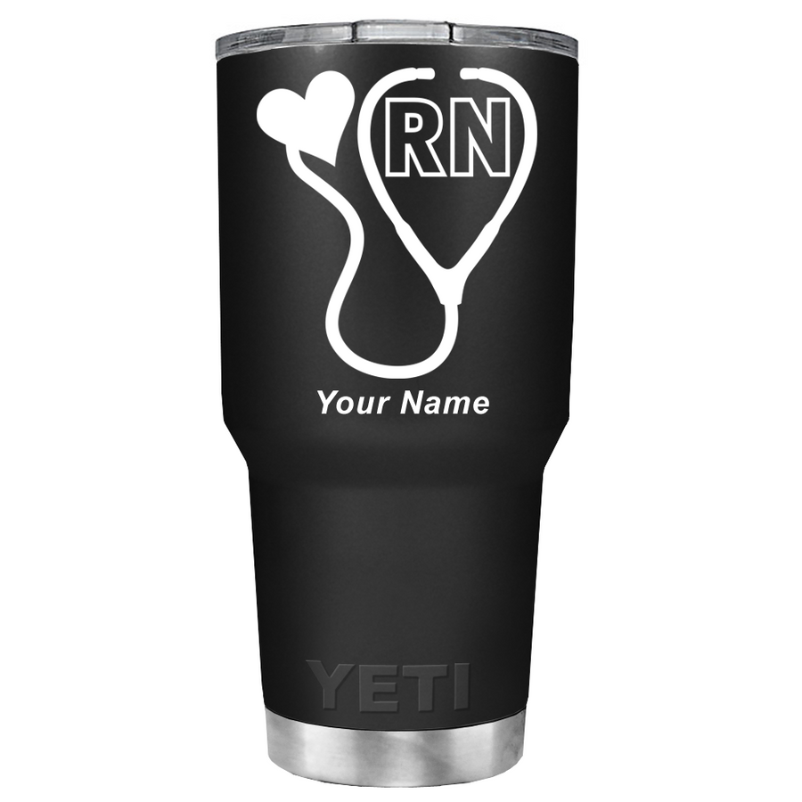 YETI  RN Nurses White Stethoscope on Black 30 oz Tumbler