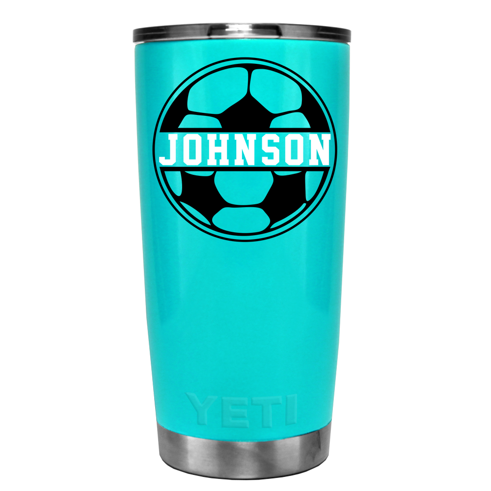 Yeti 20 Oz Personalized Soccer Ball On Seafoam Tumbler Trektumblers