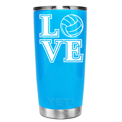 YETI 20 oz LOVE VolleyBall on Powder Blue Tumbler