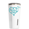 Corkcicle 16 oz Aqua Nurse Life on White Tumbler