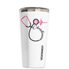 Corkcicle 16 oz Nurse Stethoscope Pink Personalized on White Tumbler