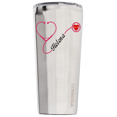 Corkcicle 24 oz Nurse Heart Stethoscope Pink on Stainless Tumbler