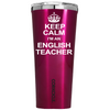 Corkcicle 24 oz Keep Calm I'm an English Teacher on Pink Translucent Tumbler