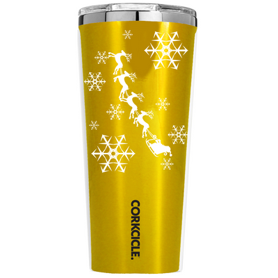Corkcicle 24 oz Santa Sleigh Ride and Snowflakes on Gold Translucent Tumbler
