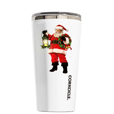 Corkcicle 16 oz Old St. Nick Lantern and Wreath on White Tumbler