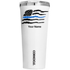 Corkcicle 24 oz Thin Blue Flag Police on White Gloss Tumbler