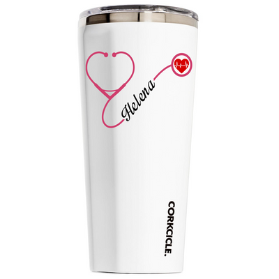 Corkcicle 24 oz Nurse Heart Stethoscope Pink on White Tumbler