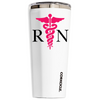 Corkcicle 24 oz Pink RN Nurse Silhouette on White Tumbler