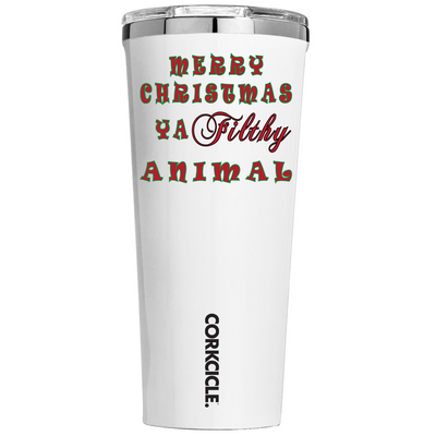Corkcicle Merry Christmas Ya Filthy Animal on White 24 oz Tumbler Cup