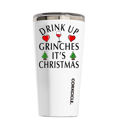 Corkcicle 16 oz Drink Up Grinch's Its Christmas on White Tumbler
