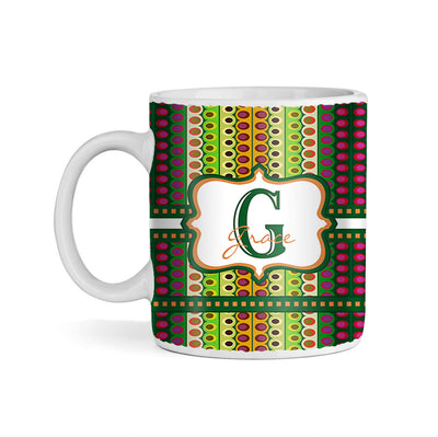 Abstract Multicolor Dotted Lines Monogram 11oz Coffee Mug