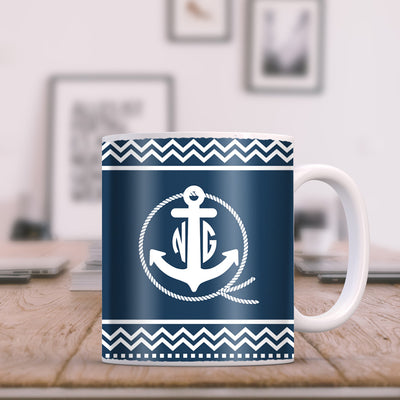 Anchor with Rope and Chevrons on Blue Monogram 11oz Coffee Mug