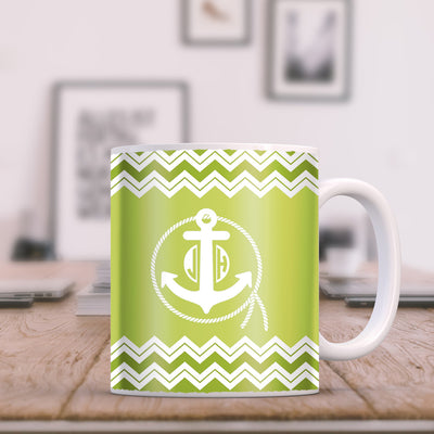 Anchor with Rope and Chevrons on Green Monogram 11oz Coffee Mug