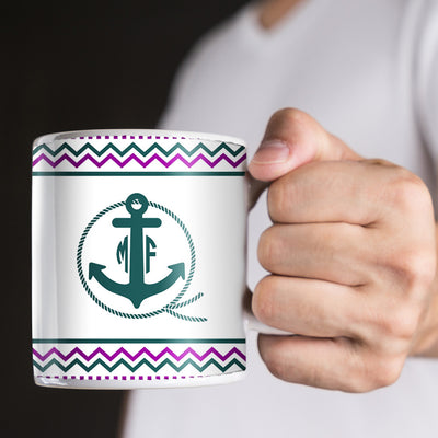 Anchor with Rope and Purple Green Chevrons Monogram 11oz Coffee Mug