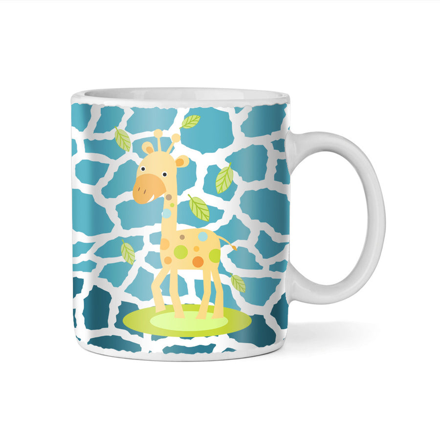 Blue Jolly Giraffe Monogram 11oz Coffee Mug