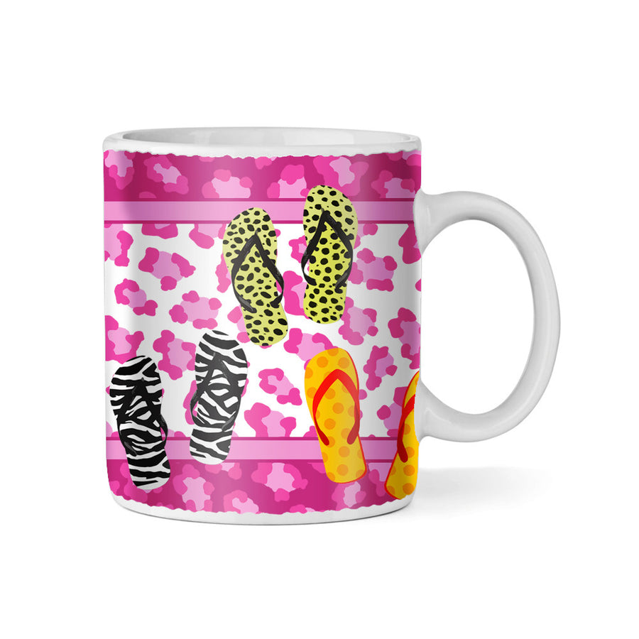 Leopard Print and Flip Flops Monogram 11oz Coffee Mug