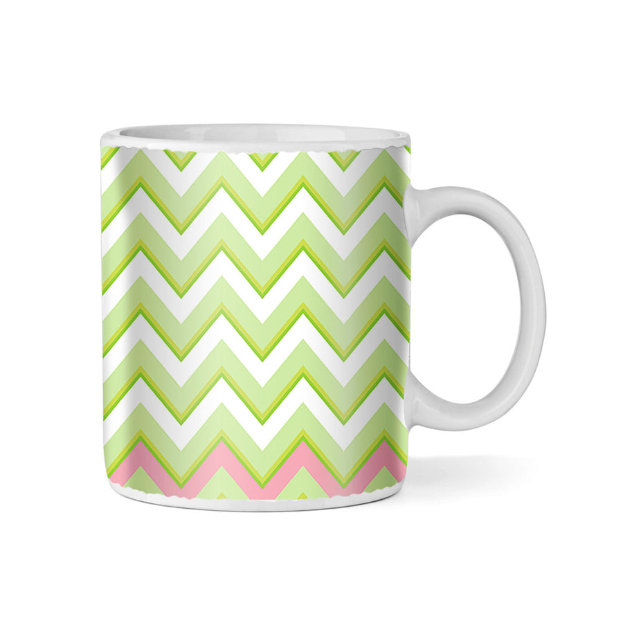 Pink and Green Watermelon Chevrons Monogram 11oz Coffee Mug
