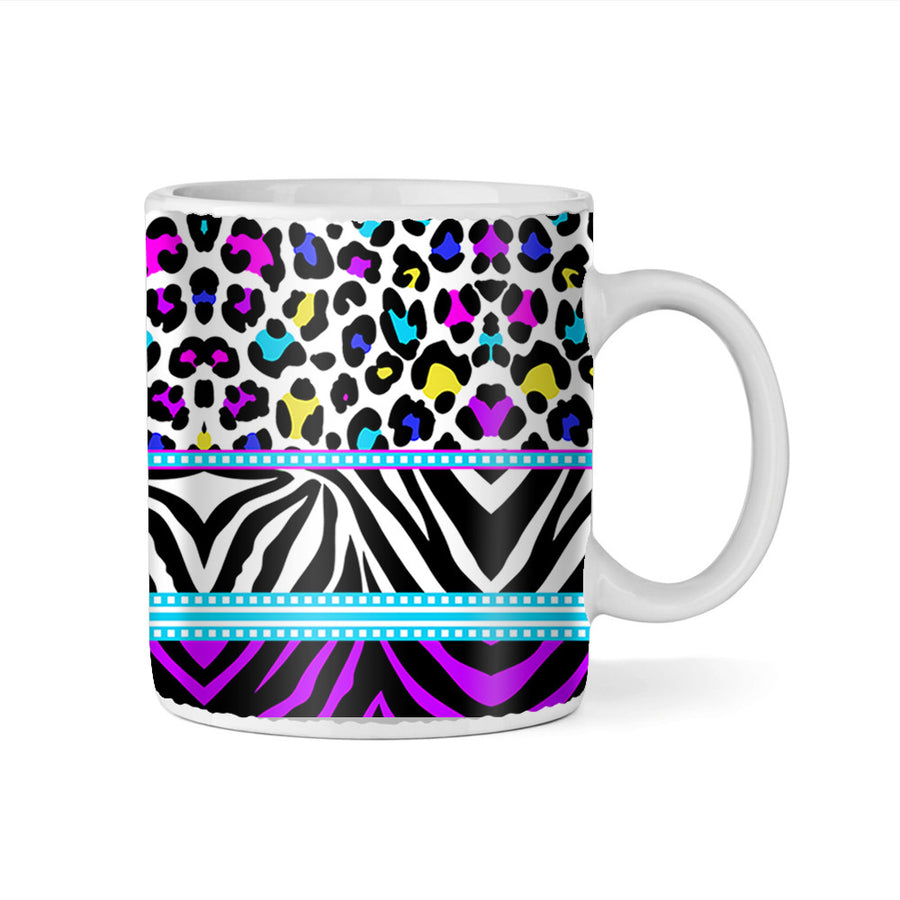 Wild Thing Zebra and Leopard Print Monogram 11oz Coffee Mug