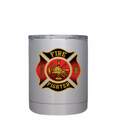 Black Red Fire Department Badge Lowball Tumbler
