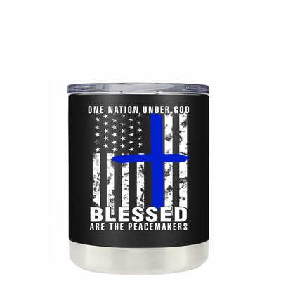 Blessed are the PeaceMakers Cross on Black Matte Police Lowball Tumbler