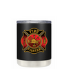 Black Red Fire Department Badge on Black Matte Lowball Tumbler