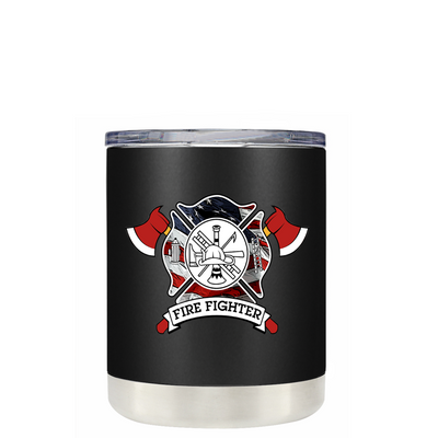 American Flag FireFighters on Black Matte Lowball Tumbler