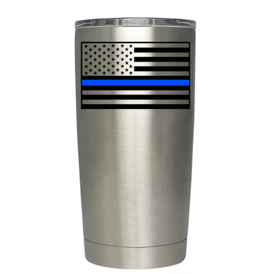 Blue Line American Flag Police Tumbler