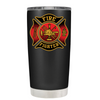 Black Red Fire Department Badge on Black Matte Tumbler