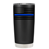Blue Line American Flag on Black Matte Police Tumbler
