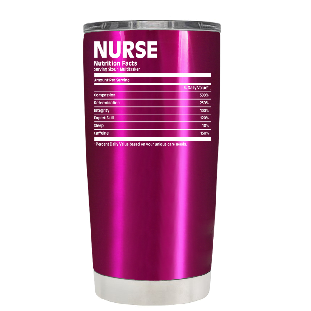 77261a51 Nurse Nutrition Facts on Translucent Pink 20 oz Tumbler Cup ...