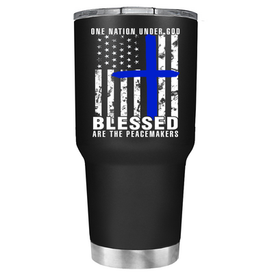 Blessed are the PeaceMakers Cross on Black Matte Police Tumbler