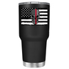 Thin Red Line Skull Flag on Black Matte Tumbler