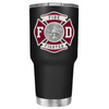Red Fire Department Badge on Black Matte Tumbler