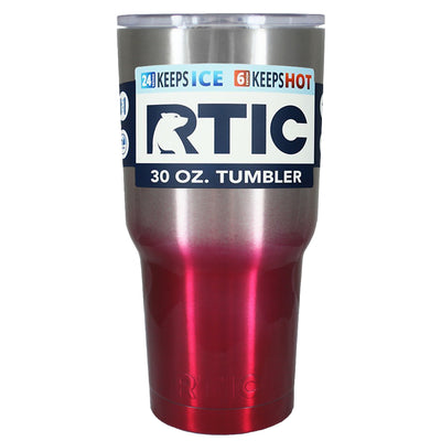 RTIC Silver Red Translucent Ombre Fade 30 oz Tumbler