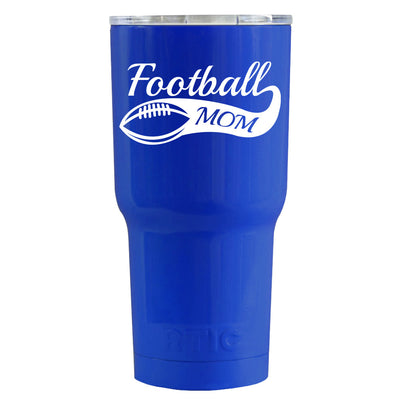 RTIC Football Mom on Blue Gloss 30 oz Stainless Steel Tumbler Cup - TrekTumblers