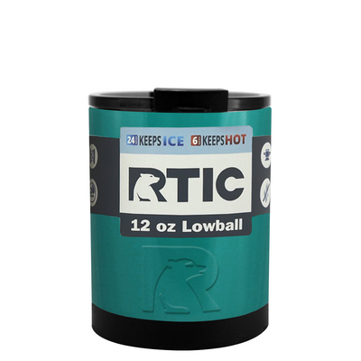 Custom RTIC 12 oz Aqua Blue Lowball Tumbler