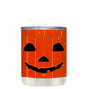 Jack O Lantern Pumpkin Face on Orange 10 oz Lowball Halloween Tumbler