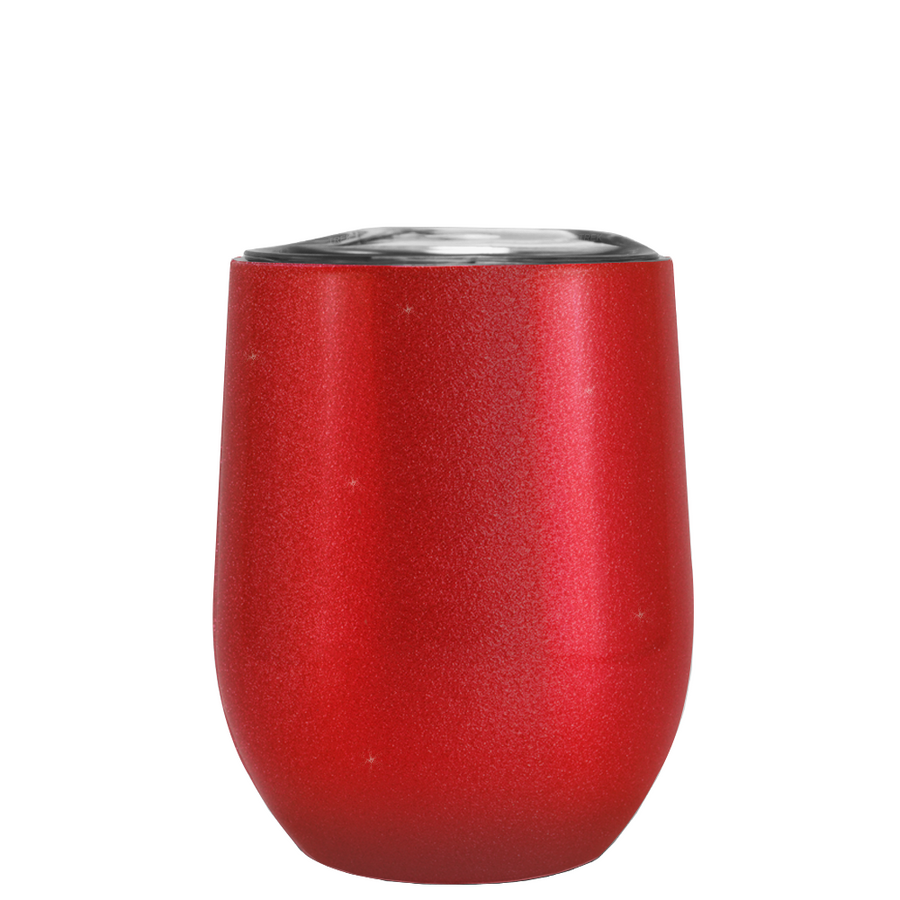 Cherry Red Glitter Stemless Wine