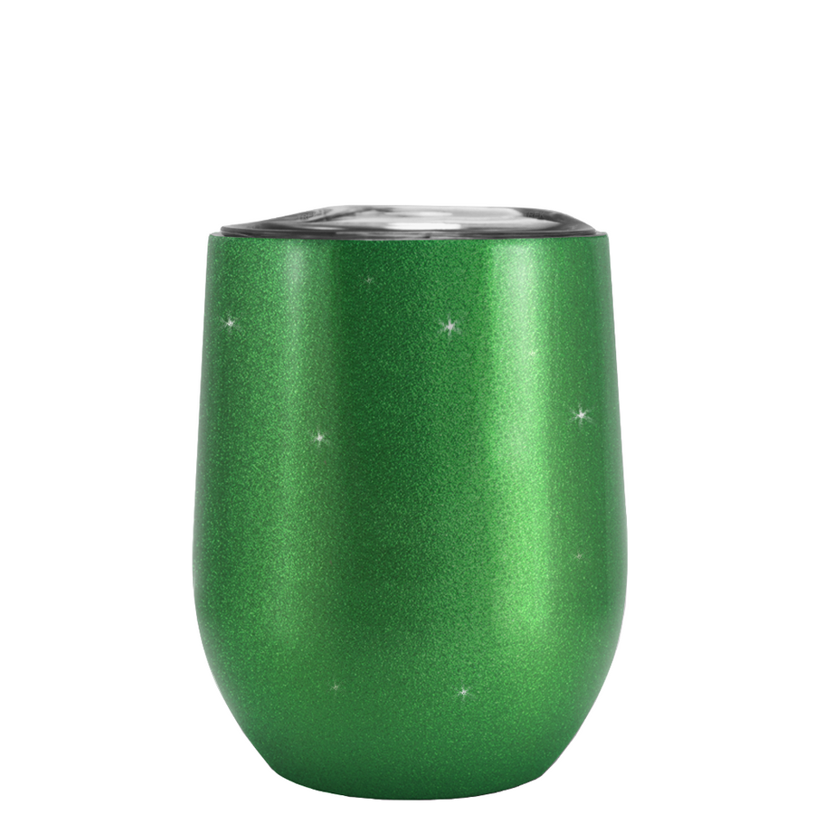 TREK Green Glitter 12 oz Stemless Wine Glass Stainless Steel